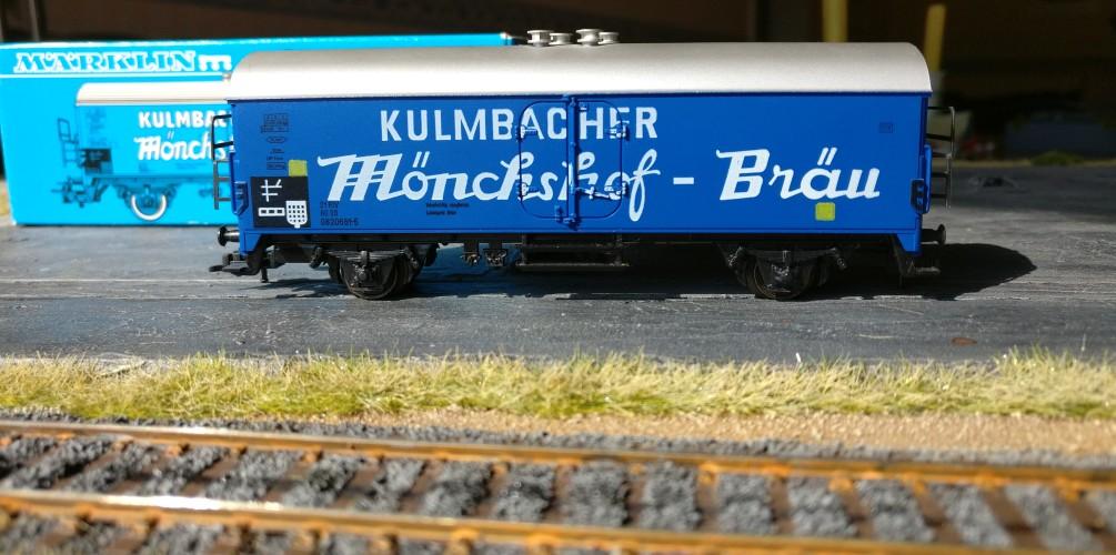 Der Märklin 4660 Kühlwagen Kulmbacher Mönchshof-Bräu nebst Originalverpackung aus der Jugend des Sturmi.